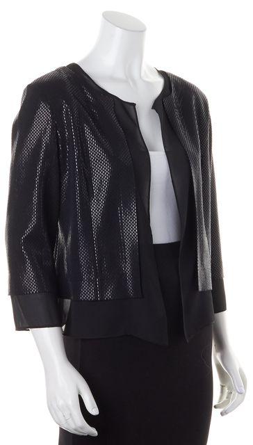ST. JOHN Black Wool Open-Front Embellished Jacket