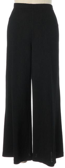 ST. JOHN Black Santana Knit Stretch Waist Wide Leg Cropped Dress Pants