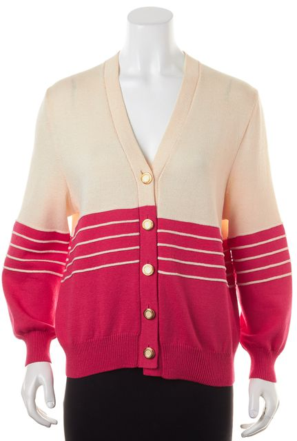 ST. JOHN Pink Beige Striped Knit Medallion Button Up Cardigan