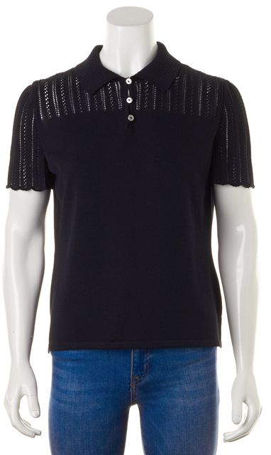 ST. JOHN Navy Blue Perforated Short Sleeve Wool Knit Top