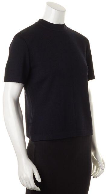 ST. JOHN Black Santana Short Sleeve Shoulder Zipped Wool Knit Crewneck Top