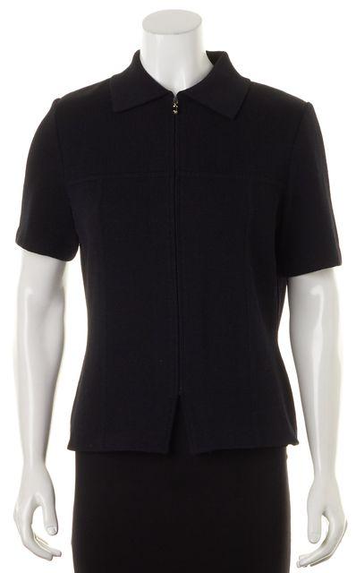 ST. JOHN Black Santana Short Sleeve Knit Zip Up Polo Jacket