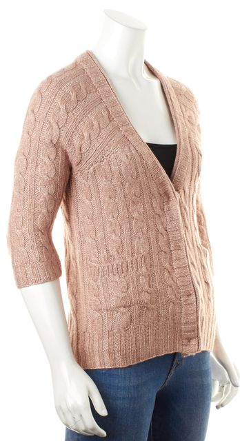 ST. JOHN Pearlescent Pink Chunky Cable Knit Snap Button Cardigan Sweater