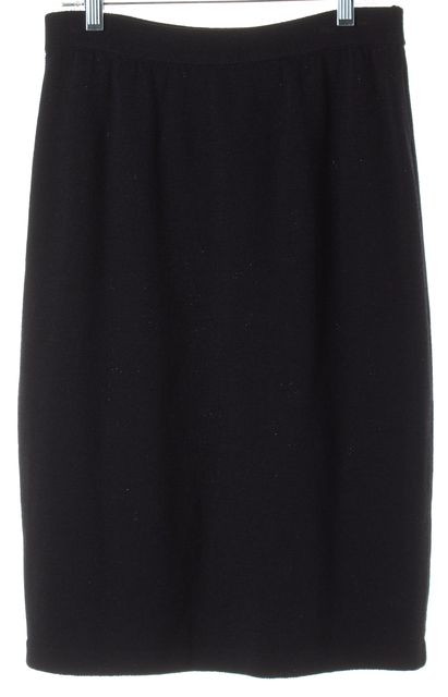 ST. JOHN Black Santana Knit Knee-Length Pencil Skirt