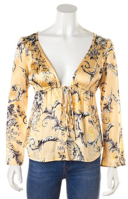 ST. JOHN Yellow Gray Floral Silk Deep V-Neck Long Sleeve Blouse