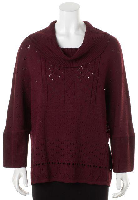 ST. JOHN Burgundy Red Pointelle Santana Knit Cowl Neck Sweater