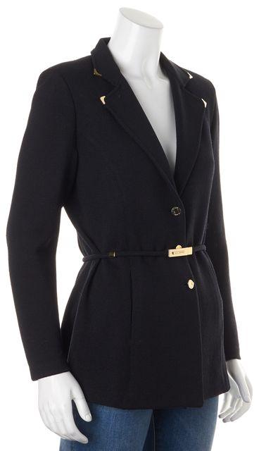 ST. JOHN Black Santana Knit Button Front Belted Blazer