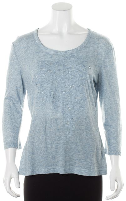 ST. JOHN Heather Blue Jersey Embellished 3/4 Sleeve T-Shirt Tee Top