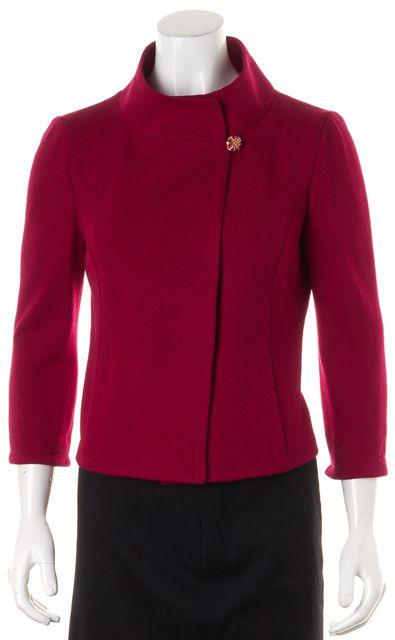 ST. JOHN Red Santana Knit Stand Collar Top Button Jacket