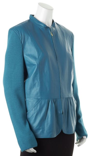 ST. JOHN Teal Blue Leather Knit Sleeves Basic Zip Up Jacket