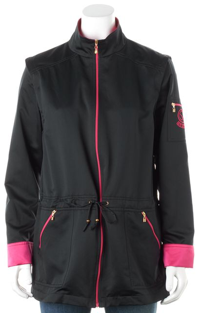 ST. JOHN Navy Blue Pink Drawstring Waist Zip-Up Jacket