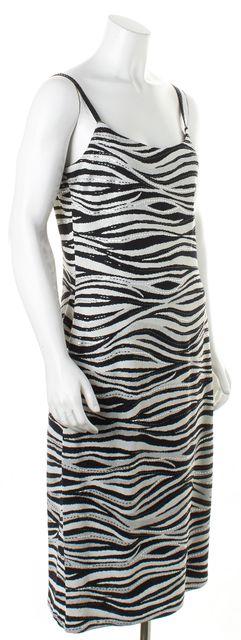 ST. JOHN Gray Black Embellished Zebra Print Santana Knit Stretch Dress