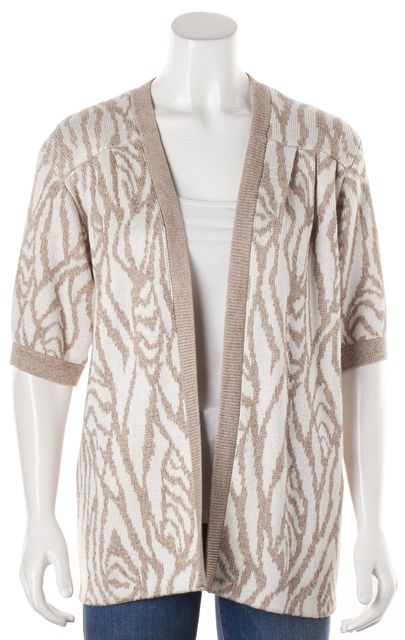 ST. JOHN Beige Abstract Knit Top