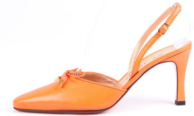 ST. JOHN Orange Leather Bow Embellished Point-Toe Slingback Heels