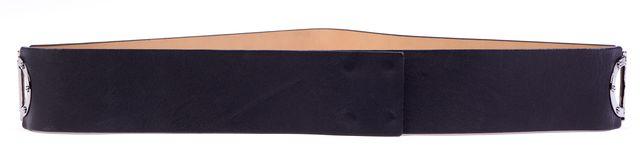 ST. JOHN Black Leather Silver-Tone Grommets Wide Belt