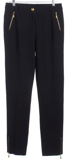 ST. JOHN Black Pen-Tuck Panel Gold Tone Button Front Casual Pants