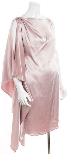 ST. JOHN Blush Pink Sleeveless Boat Neck Asymmetrical Hem Dress