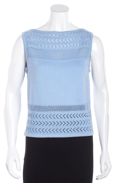ST. JOHN Baby Blue Perforated Knit Tank Top
