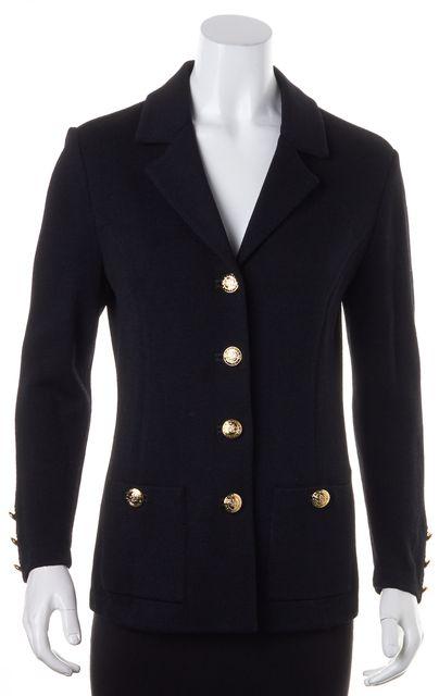 ST. JOHN Black Santana Knit Gold-Tone Buttons Blazer Jacket