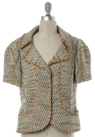 ST. JOHN COUTURE Ivory Black Tweed Sequin Embellished Jacket
