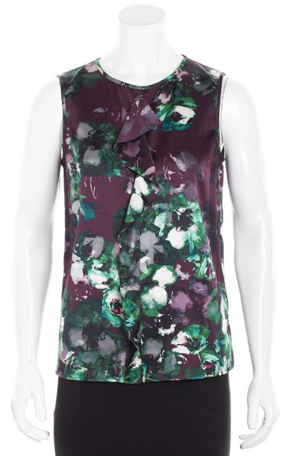 ST. JOHN COUTURE Purple Floral Ruffle Silk Sleeveless Blouse