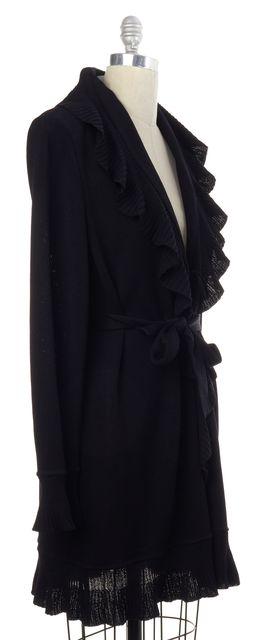 ST JOHN EVENING Black Long Sleeve Ruffled Cardigan Sweater
