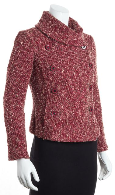 ST. JOHN KNIT Red Long Sleeve Double Breasted Tweed Blazer