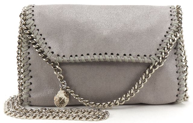 STELLA MCCARTNEY Gray Shaggy Deer Mini Falabella Flap Crossbody Handbag