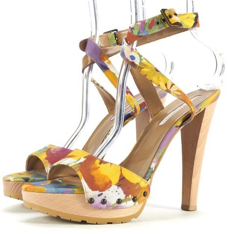 STELLA MCCARTNEY Blue Orange Multi Floral Print Platform Sandals