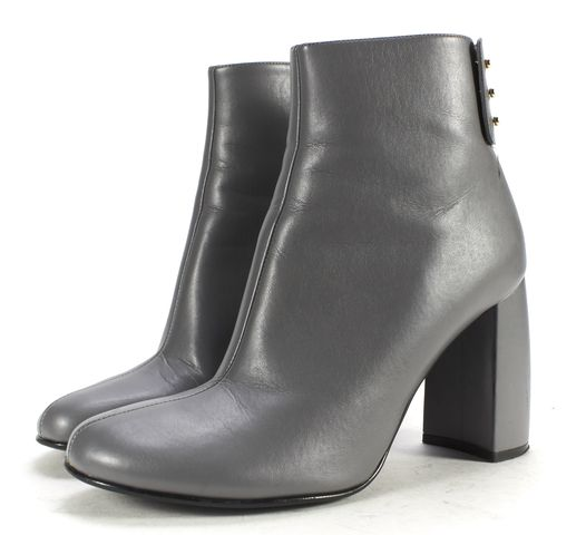 STELLA MCCARTNEY Gray Faux Leather Block Heel Ankle Boots