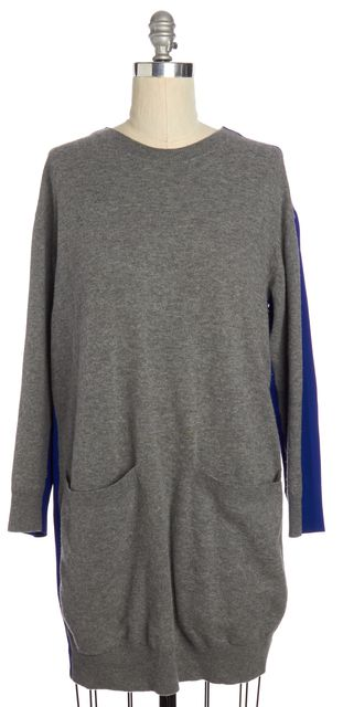 STELLA MCCARTNEY Gray Electric Blue Colorblock Wool Sweater Dress
