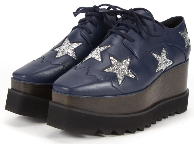 STELLA MCCARTNEY Faux Leather Elyse Blue Star Platform Oxford