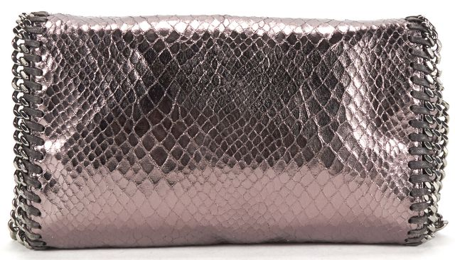 STELLA MCCARTNEY Pewter Snake Embossed Shaggy Deer Falabella Mini Crossbody Bag