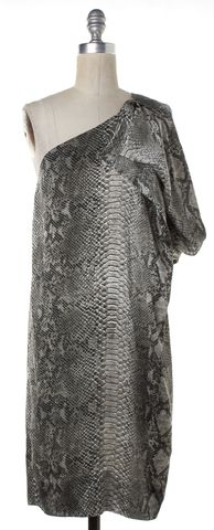 STELLA MCCARTNEY Gray Snakeskin Print Silk One Shoulder Shift Dress