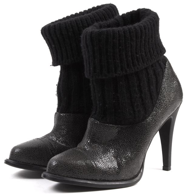STELLA MCCARTNEY Black Embossed Faux Leather Wool Insert Ankle Boots