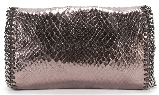 STELLA MCCARTNEY Pewter Snake Embossed Faux Leather Falabella Crossbody Bag
