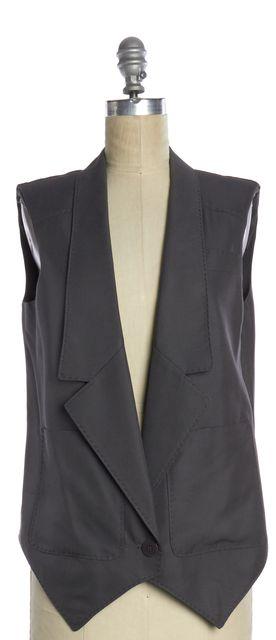 STELLA MCCARTNEY Gray Silk Single Button Sleeveless Vest