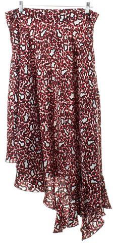 STELLA MCCARTNEY Red Black Animal Print Silk Asymmetrical Maxi Skirt