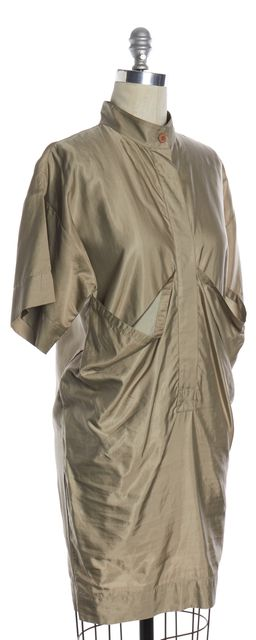 STELLA MCCARTNEY Green Metallic Drape Pocket Shift Dress
