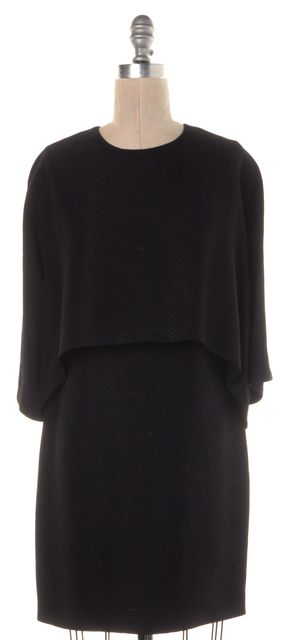 STELLA MCCARTNEY Black Snakeskin Embossed Print Layered Shift Dress