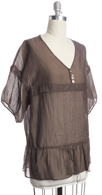 STELLA MCCARTNEY Brown Sheer Cotton Silk Oversized Peasant Blouse Top