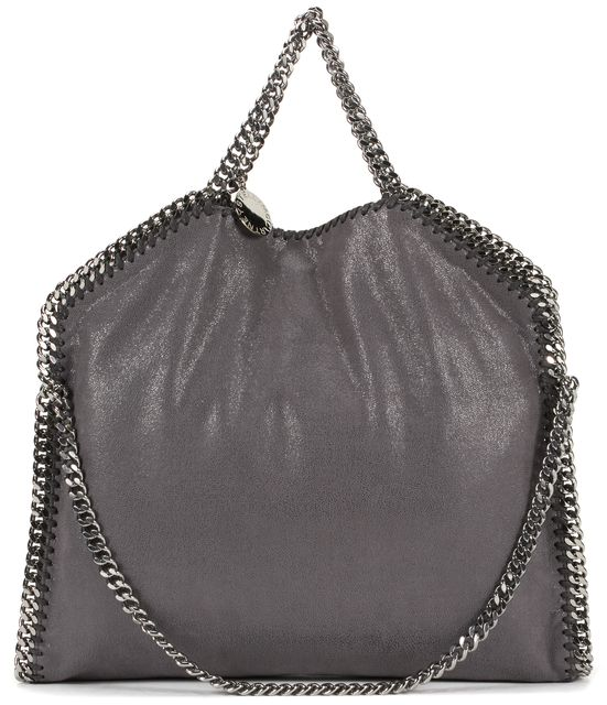 STELLA MCCARTNEY Gray Shaggy Deer Faux Suede Falabella Small Shoulder Tote Bag