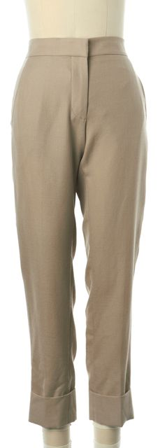 STELLA MCCARTNEY Tan Wool Cuffed Trouser Dress Pants
