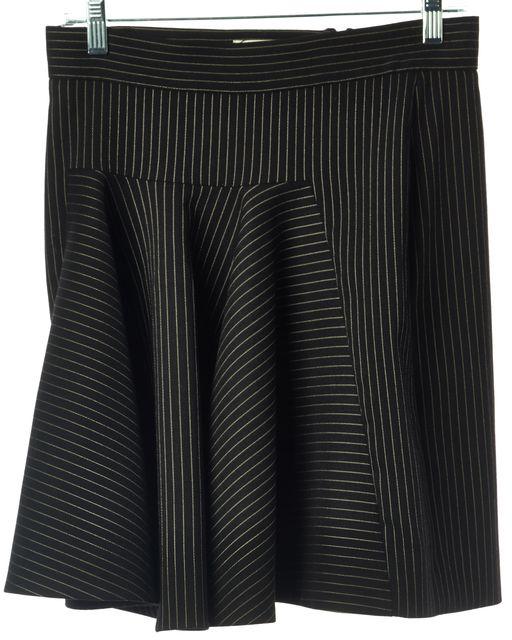 STELLA MCCARTNEY Black Ivory Striped Casual Wool Pleated Skirt
