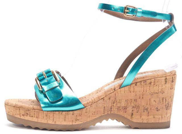 STELLA MCCARTNEY Blue Metallic Buckle Front Ankle Strap Cork Wedge Sandals