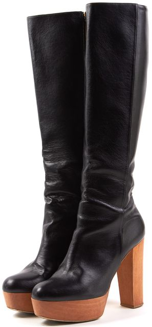 STELLA MCCARTNEY Black Faux Leather Tall Platform Boots