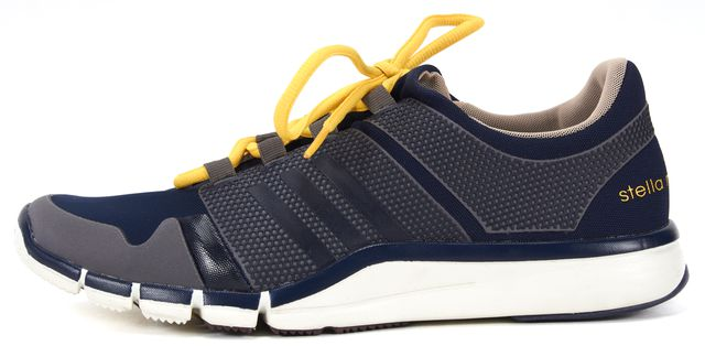 ADIDAS BY STELLA MCCARTNEY Navy Blue Yellow Gray Mesh Athletic Sneakers