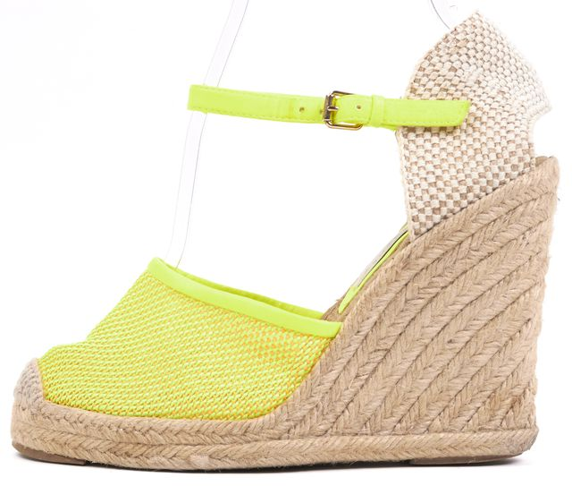 STELLA MCCARTNEY Neon Yellow Mesh Closed Toe Ankle Strap Espadrille Wedges