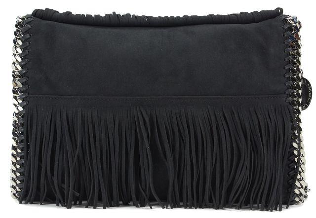 STELLA MCCARTNEY Black Shaggy Deer Falabella Fringe Crossbody Bag