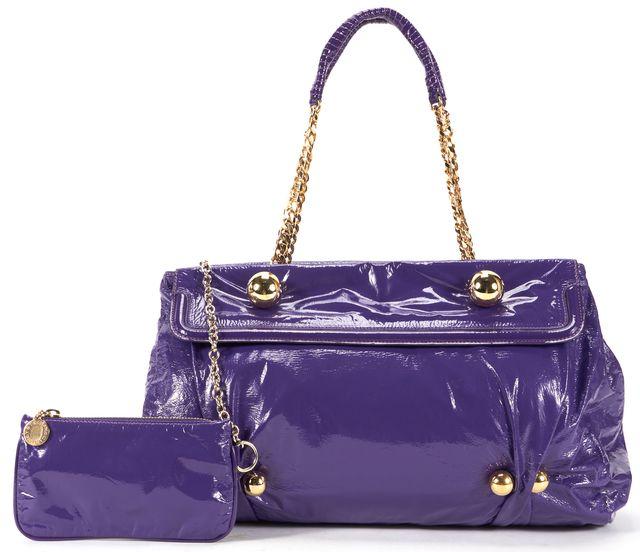 STELLA MCCARTNEY Purple Faux Patent Leather Gold Chain Link Shoulder Bag